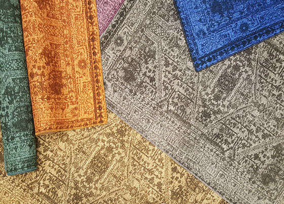 Siesta Vintage: Produced with printed technique on to the %100 Polyester fabric. For giving a hand made rug flexibility and weightiness, special weaved cotton kilims has used under the polyester fabric - backing is covered