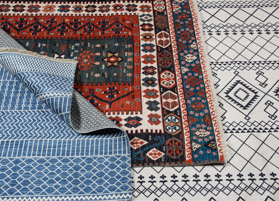 Punto: Modern and traditional designed user friendly, anti-slip washable kilims with polyester chenille